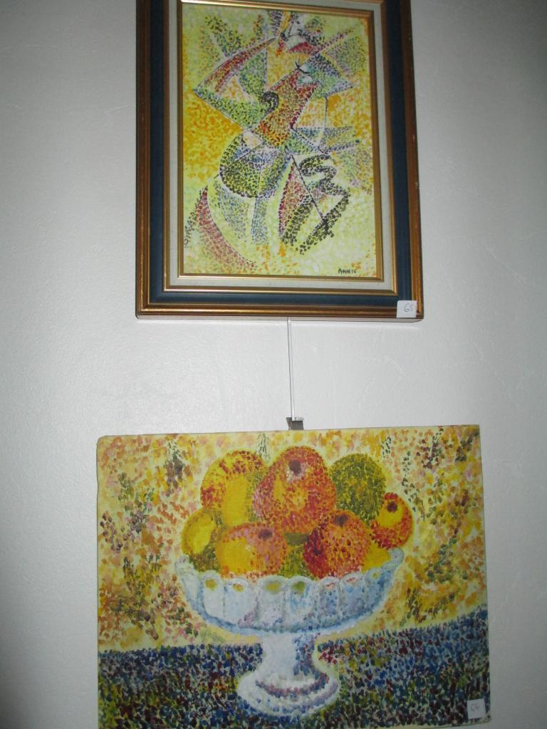 UNE FEMME et COUPE DE FRUITS POINTILLISME